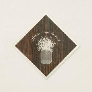 Wood Inspired Mason Jar of Baby's Breath Wedding Paper Napkin