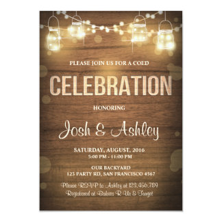 Wood invitation celebration BBQ Rustic Lights