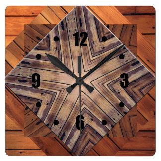 Wood Kaleidoscope Design Square Wall Clocks