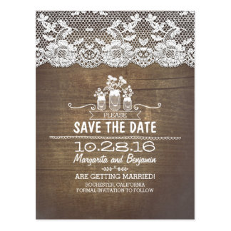 wood lace and mason jars rustic save the date post cards
