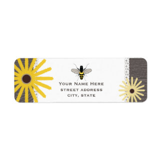 Wood & Lace Inspired Black Eyed Susans Bee Label