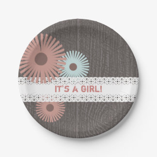 Wood + Lace Inspired Floral Baby Shower Paper Plate