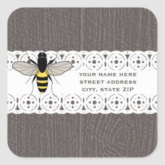 Wood & Lace Inspired Honey Bee Address Square Sticker