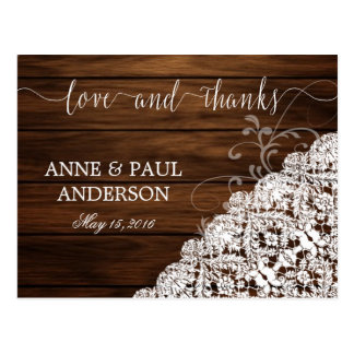 Wood & Lace Thank You Card Postcard