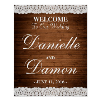 """Wood & Lace Wedding Welcome Poster 16""""x20"""""""