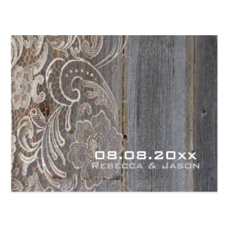 wood lace western country wedding save the date postcard