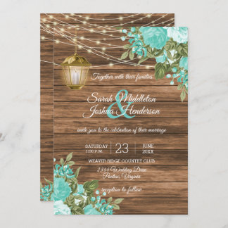 Wood, Lanterns and Teal Flower Wedding Invitation