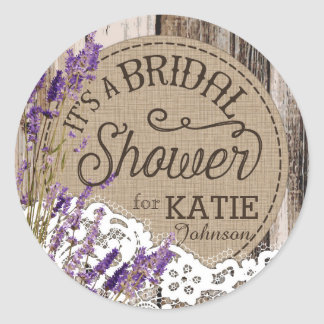 Wood Lavender Lace Rustic Bridal Shower Label Classic Round Sticker