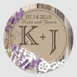"Wood Lavender Lace Rustic Monogram Wedding Label<br><div class=""desc"">Aged wood planks,  lavender,  and lace over linen-look background rustic country monogram wedding label design.</div>"