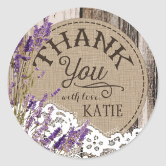 Wood Lavender Lace Rustic Thank You Label