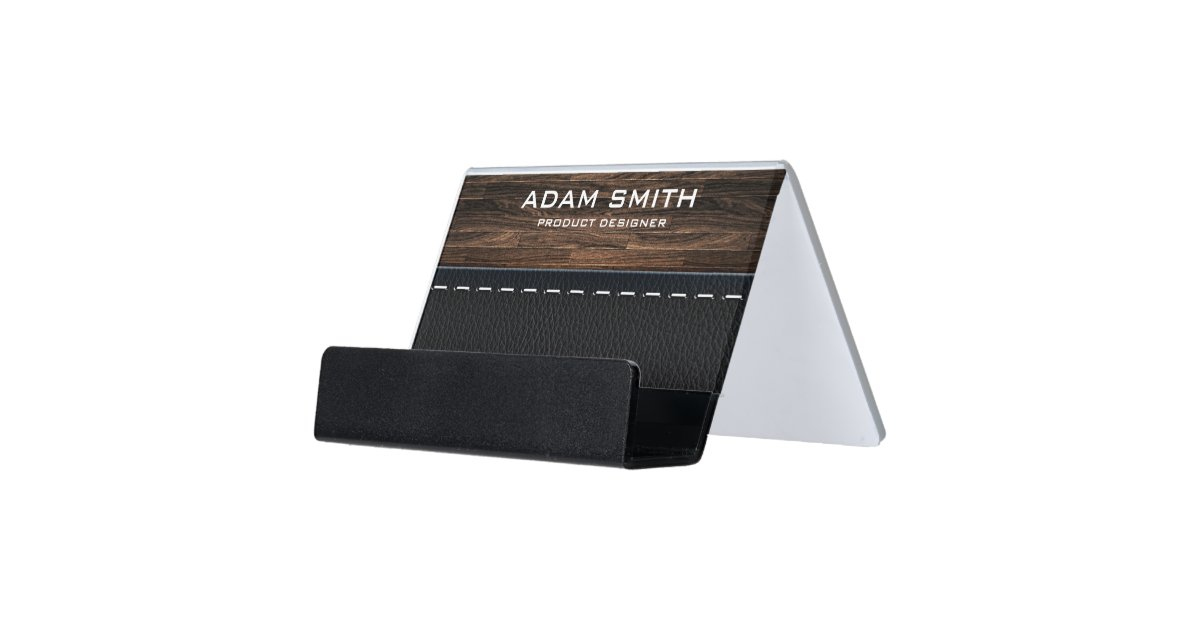 Wood Leather Look Professional Modern Customized Desk Business Card Holder Zazzle Com