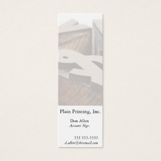 Wood letters bookmark mini business card