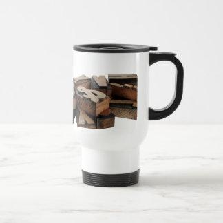 wood letters commuter coffee mug