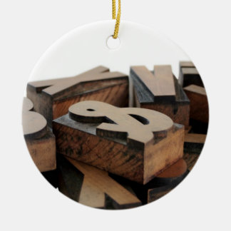 wood letters hat round ornament