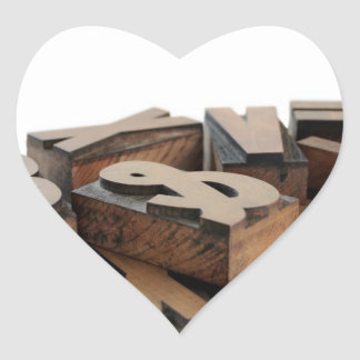 wood letters heart stickers