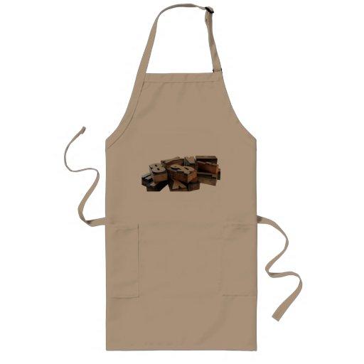wood letters long khaki apron
