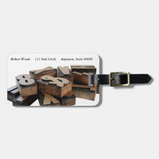 Wood letters luggage tag