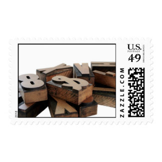 wood letters postage stamp