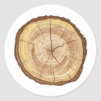 Wood Log Classic Round Sticker