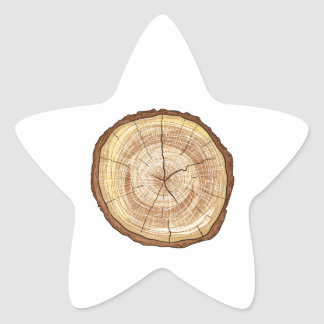 Wood Log Star Sticker