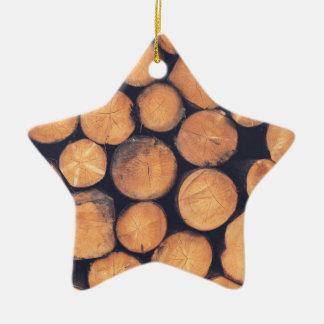 Wood logs ceramic ornament
