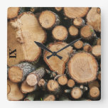 Wood Logs in a Forest Square Wall Clock