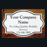 "Wood-Look Business Yard Sign<br><div class=""desc"">A faux wood, dark oak grain pattern professional business sign. Customize this rustic style business yard sign by adding your name, contact information or other text to fit your needs. A business yard sign that works for lawn care, landscaping, construction, contracting, roofing, real estate, tree service, contractor, painting, carpenter and...</div>"