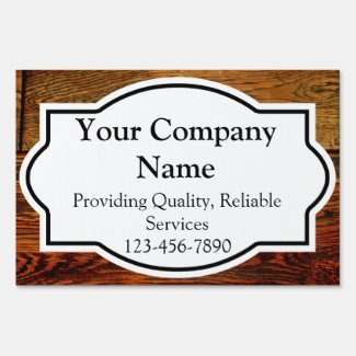 Wood-Look Business Yard Sign