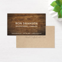 Wood-Look Dark Brown Masculine Simple Understated Business Card