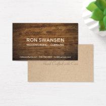 Wood-Look Dark Brown Masculine Simple Understated Business Card