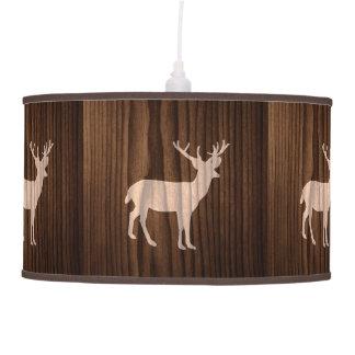 Wood Look Deer Hanging Lamp