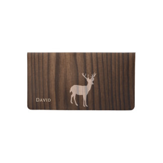Wood Look Deer Personalized Check Book Cover