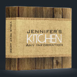 """Wood Look Kitchen Cooking Vintage Burlap Rustic Binder<br><div class=""""desc"""">Wood Look Kitchen Cooking Vintage Burlap Rustic. Please Select Customize. Remove or change Information prior to purchase. Design is available on other products.</div>"""