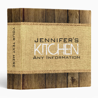 Wood Look Kitchen Cooking Vintage Burlap Rustic Binder