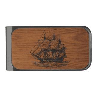 Wood Look Nautical Sailing Ship Gunmetal Finish Money Clip