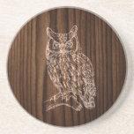 Wood Look Owl Stone Coaster