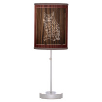 Wood Look Owl Table Lamp