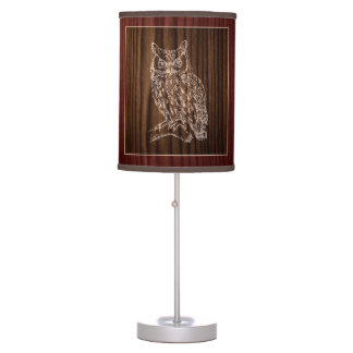 Wood Look Owl Table Lamp