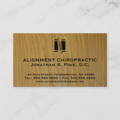 Wood-Look Standard Chiropractic Business Cards