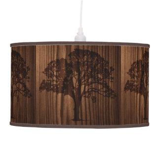 Wood Look Tree Silhouette Hanging Lamp