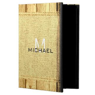Wood Look Vintage Rustic Burlap Monogram Powis iPad Air 2 Case