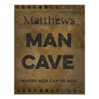 Wood Man Cave Personalized Posters