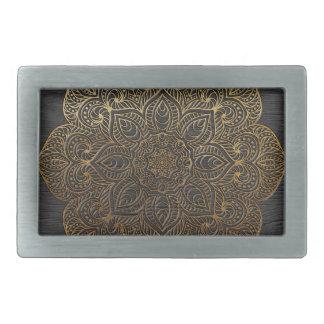 Wood mandala-gold belt buckle