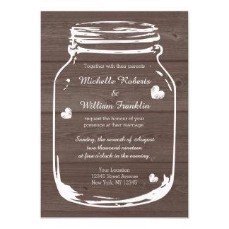 "Wood mason jar country barn wedding invitations 5"" x 7"" invitation card"