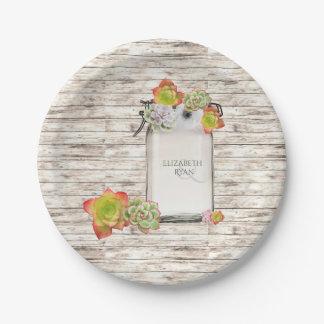 Wood, Mason Jar, Succulents, Wedding, Custom, Paper Plate