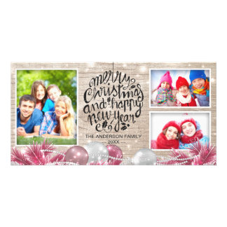 Wood Merry Christmas Happy New Year Greeting Photo Card