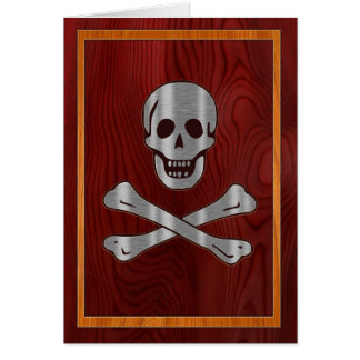 Wood Metal Pirate Card