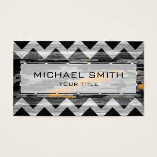Wood Modern Aztec Chevron Pattern #4 Business Card