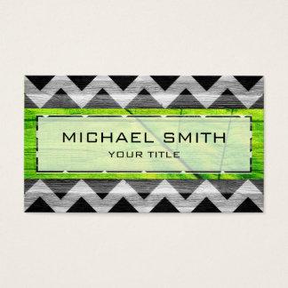 Wood Modern Aztec Chevron Pattern #6 Business Card