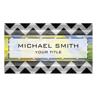 Wood Modern Aztec Chevron Pattern #7 Business Card Templates